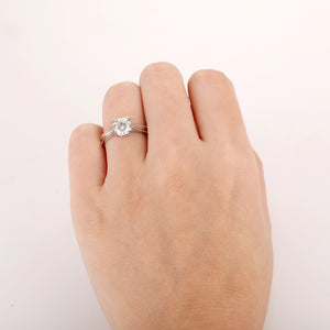 Round Cut 1.5CT Moissanite Ring, Art Deco Solitaire Engagement Ring