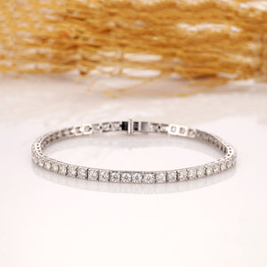 6CTW Esdomera Moissanite Accents Bracelet, 14k White Gold Box Chain Bracelet Fine Jewelry