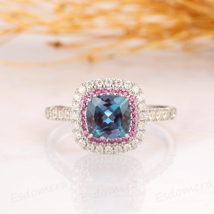 Cushion Cut 1.5ct Alexandrite Ring, Double Halo Pink Pave Set Accents Ring, 14k White Gold Engagement Ring