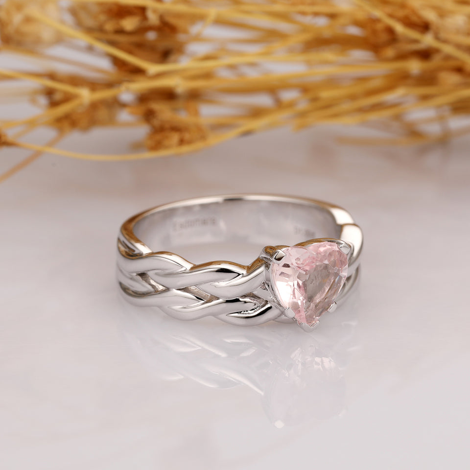 Heart Shaped 1.00CT Natural Morganite Ring, Solid Gold Engagement Ring