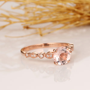 Round Cut 1CT Morganite Ring, 14k Rose Gold Engagement Ring, Anniversary Promise Ring