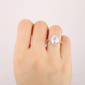 Long Cushion Cut 4CT 9x11mm Moissanite Halo Accents Engagement Ring