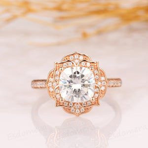 Floral Halo Engagement Ring, 1.7CT Cushion Cut Moissanite Ring