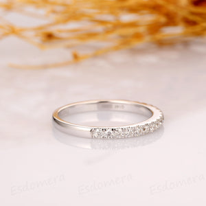 Moissanite Band, Pave Set Moissanite Wedding Ring, 14k White Gold Ring