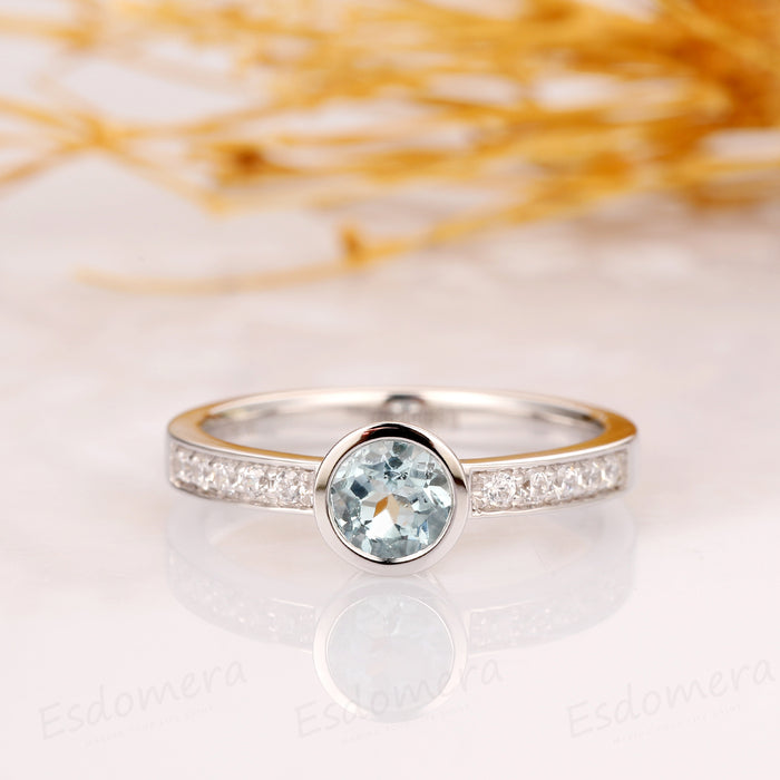 Round Cut 5mm Natural Aquamarine Bezel Ring Set, 14k White Gold Ring
