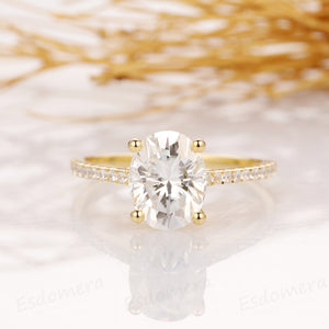 Oval Cut 2.1CT Esdomera Moissanite Engagement Ring, 14k Yellow Gold Half Eternity Wedding Ring
