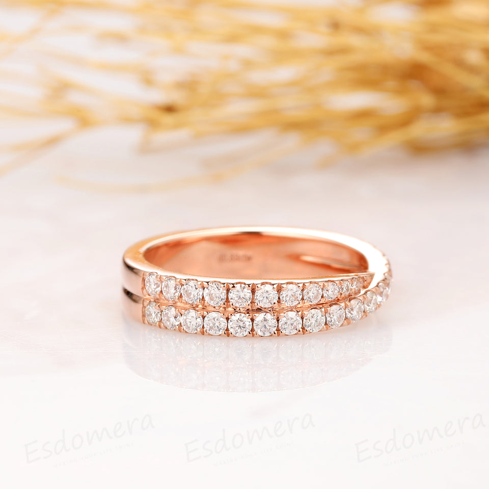 3/4 Pave Set Moissanite Wedding Band, 14k Solid Rose Gold Ring