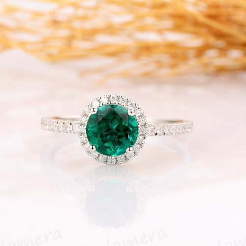 Round Cut 1CT Emerald Wedding Ring, Halo Pave Set Accent Ring, 14k White Gold Ring