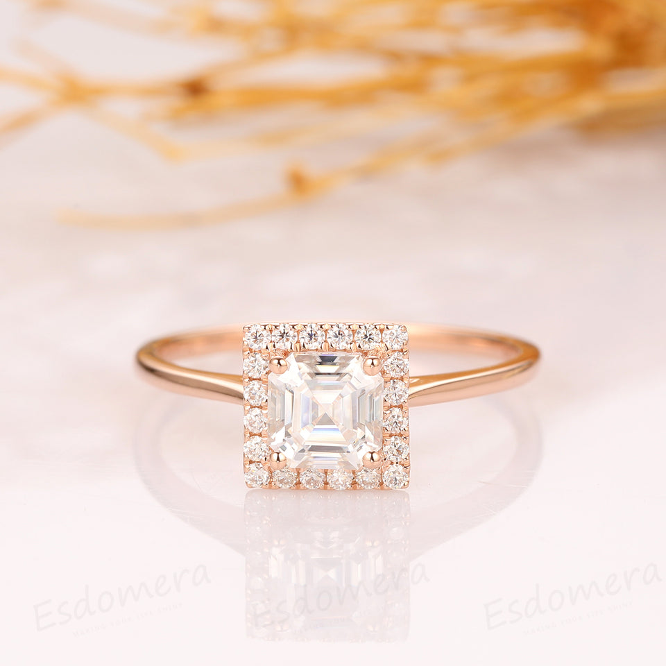 Asscher Cut 1.1CT Moissanite Engagement Ring, Halo Style Ring, 14k Rose Gold Ring