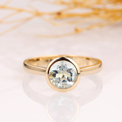 Round Cut 1.5ct Aquamarine Solitaire Bezel Style Ring, 14k Gold Wedding Ring