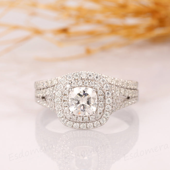 Cushion Cut 1CT Moissanite Double Halo Accents Wedding Bridal Set