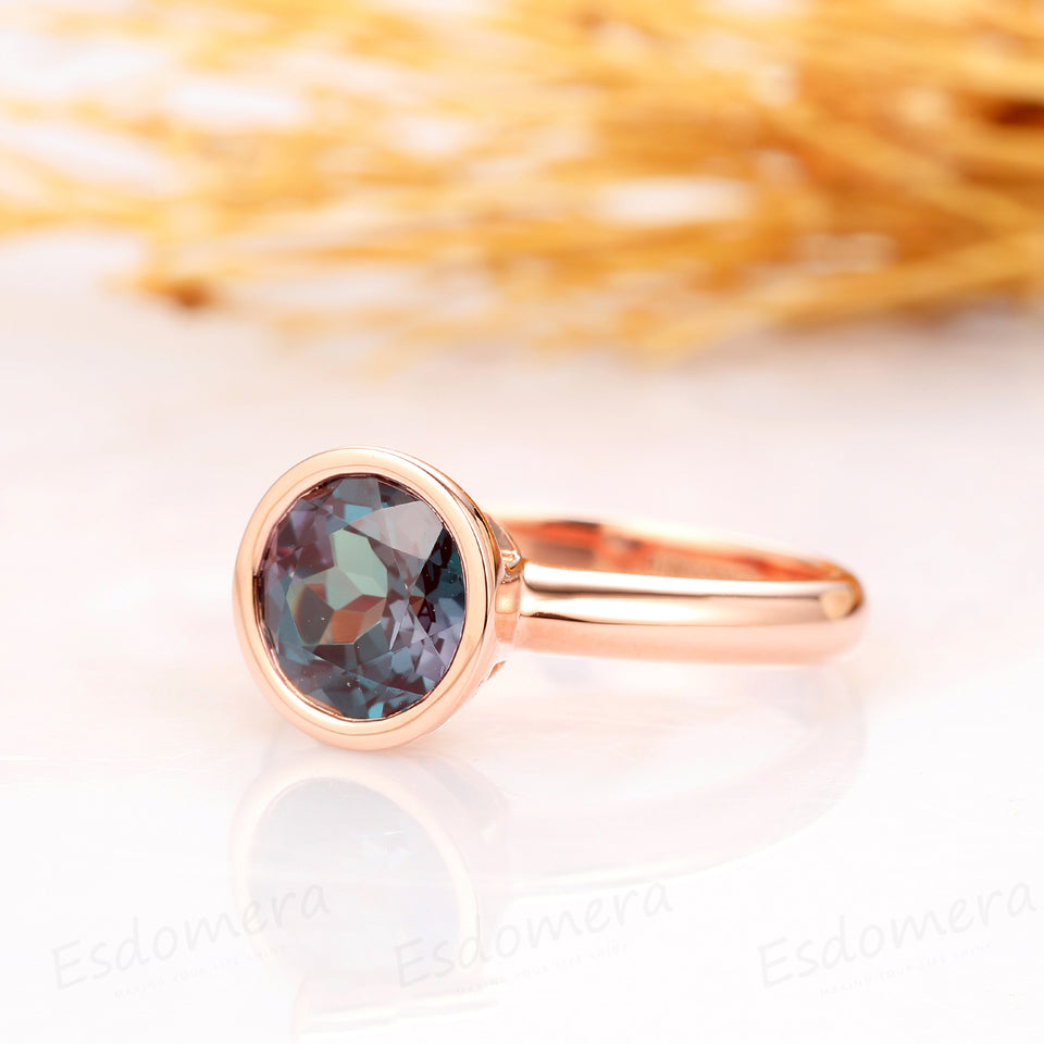 Bezel Set 1.5CT Round Cut Alexandrite Ring, Solitaire Ring Design, 14k White Gold Ring