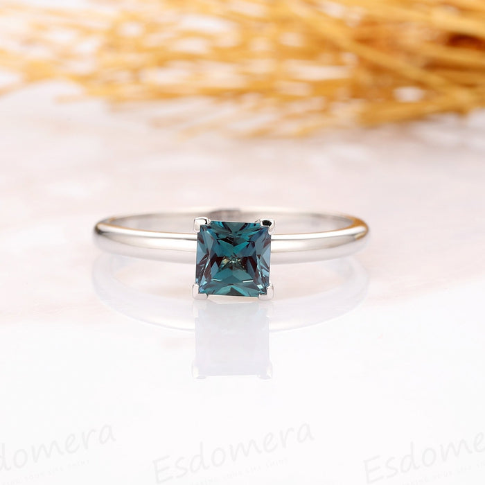 Princess Cut 1CT Alexandrite Ring, 14k Solid White Gold Engagement Ring