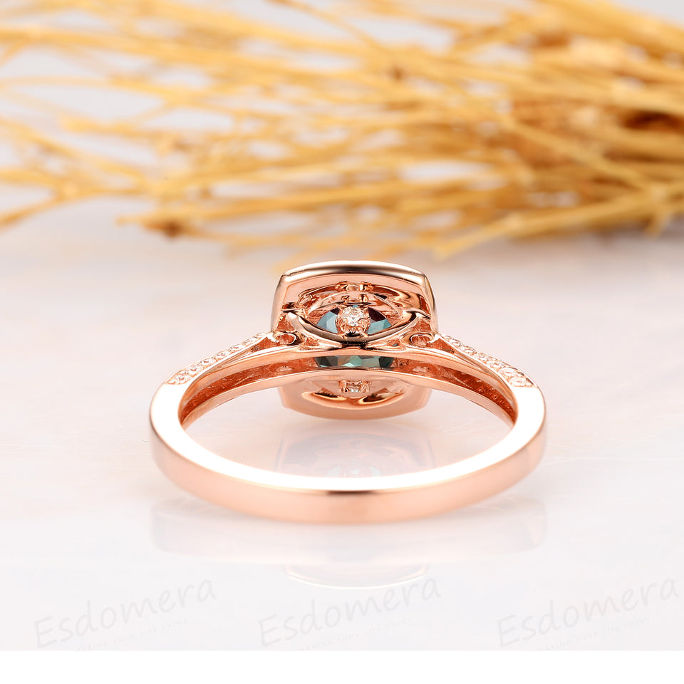 1.25ct Round Cut Alexandrite Ring, Halo Accents 14k Rose Gold Antique Filigree Engagement Ring