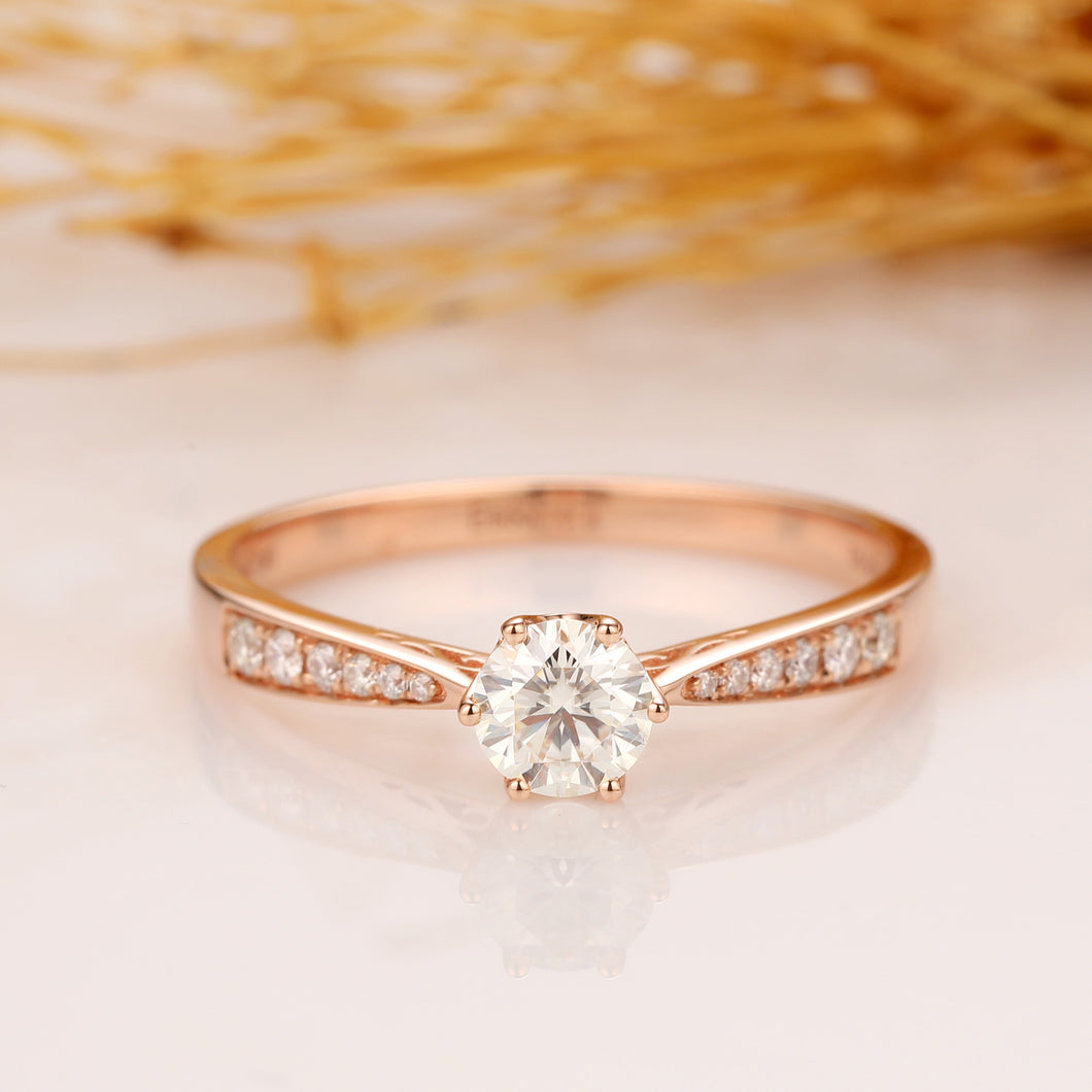 Vintage Crown Design Wedding Ring, 0.5CT Round Cut Moissanite Engagement Ring, 14K Solid Gold