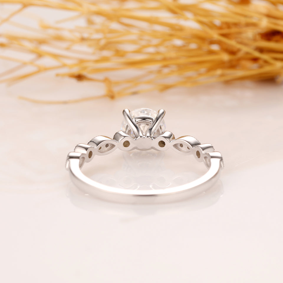 Art Deco Engagement Ring, 0.5CT Esdomera Round Cut Moissanite Ring, 14k White Gold Ring