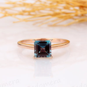 Asscher Cut 6mm Alexandrite Ring, 4 Prong Solitaire Ring, 14k Rose Gold