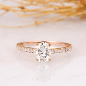 Oval Cut 1 CT Moissanite Ring, Vintage Halo Pave Set Wedding Ring
