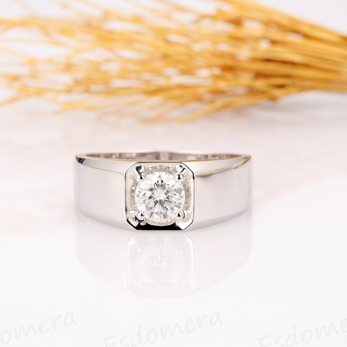 Round Cut 1ct Moissanite 4 Prong Wide Solitaire Men's Wedding Band