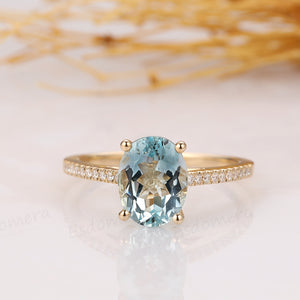 Oval Cut 2.1CT Natural Aquamarine Ring, Pave Set Moissanite, 14k Yellow Gold Ring