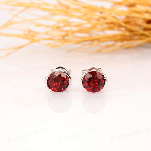 Natural Red Garnet Earrings, 1.60CTW Round Cut Garnet Earrings, 14k Solid White Gold