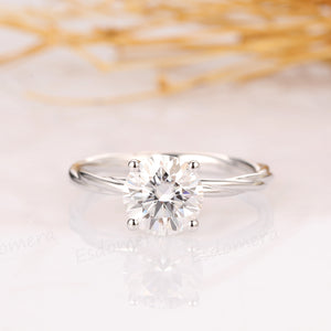 Rope Twist Band Wedding Ring, 1.25CT Round Cut Moissanite Ring