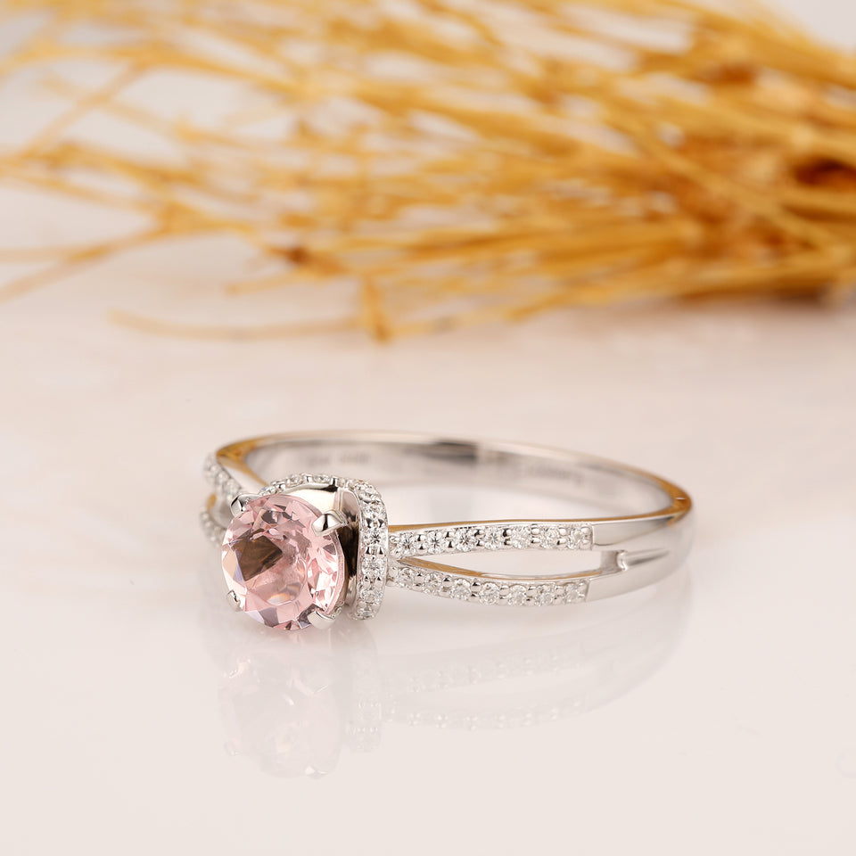 1.00CT Round Cut Morganite Wedding Ring, 14k White Gold Engagement Ring