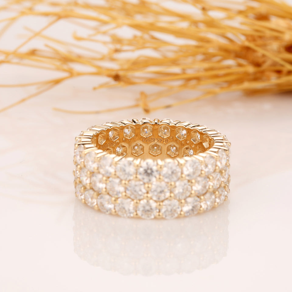 5.7ctw Round Cut Moissanite Wedding Band, 14k Yellow Gold Ring