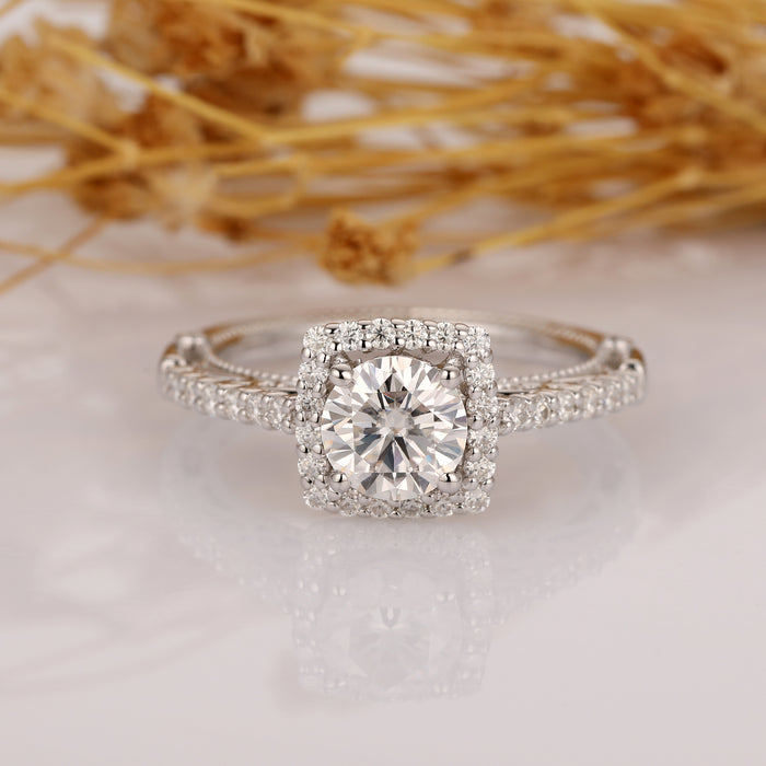 Round 1ct Moissanite Halo Antique Filigree Accents 14k White Gold Ring - Custom Order