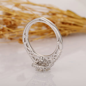Round 1ct Moissanite Halo Antique Filigree Accents 14k White Gold Ring