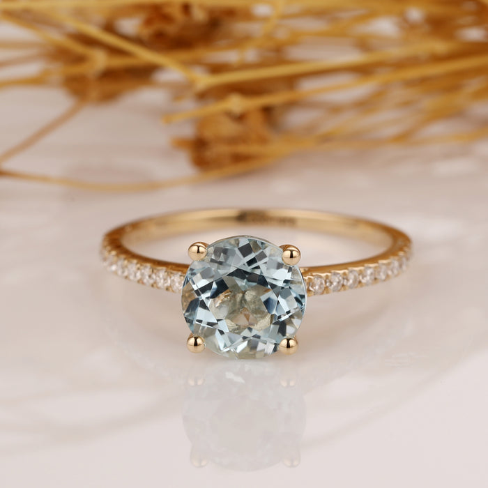 1.25CT Round Cut Aquamarine Engagement Ring, Solid Gold Ring, Promise Wedding Ring