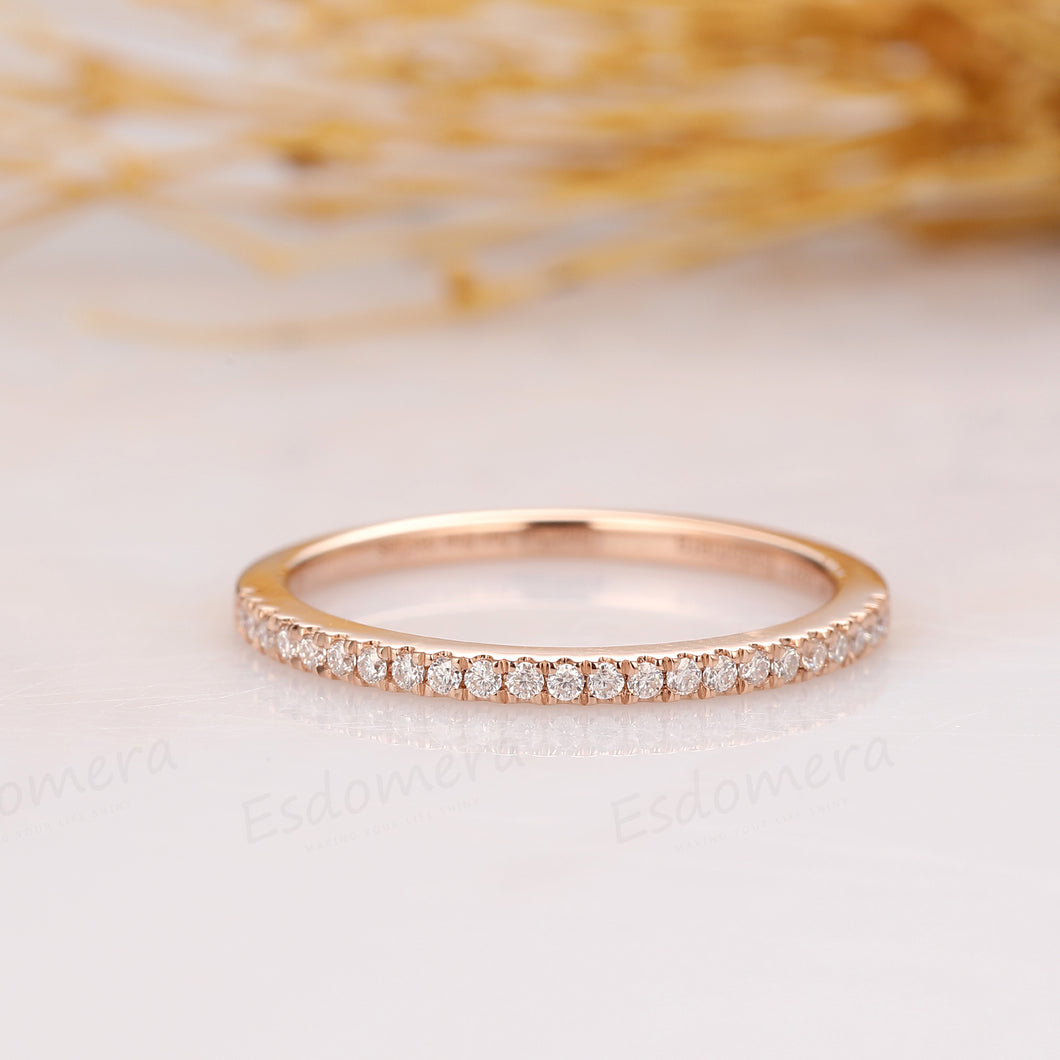 Half Eternity Moissanite Wedding Band, Rose Gold Ring, Matching Band