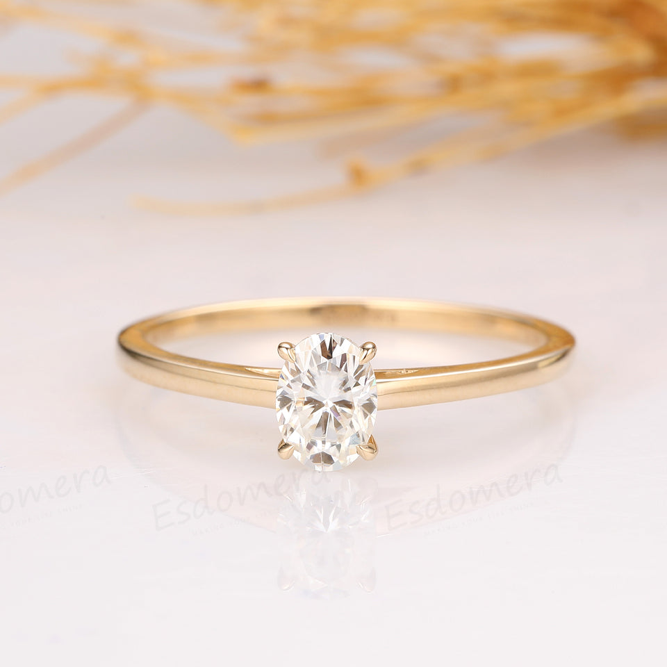 1CT Oval Cut Moissanite Engagement Ring, Solitaire Ring, 4 Prongs Wedding Ring