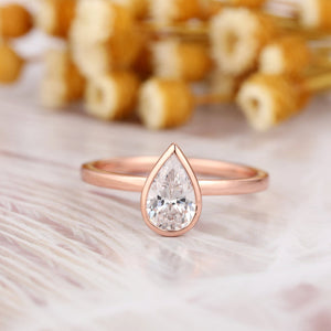 Brilliant 1.0CT Pear Cut Moissanite Solitaire Ring, 14k Gold Water Drop Shape Wedding Ring