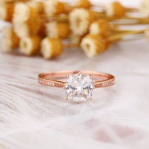 Classic Style Ring, 1.7CT Cushion Cut Moissanite Accents Engagement Ring