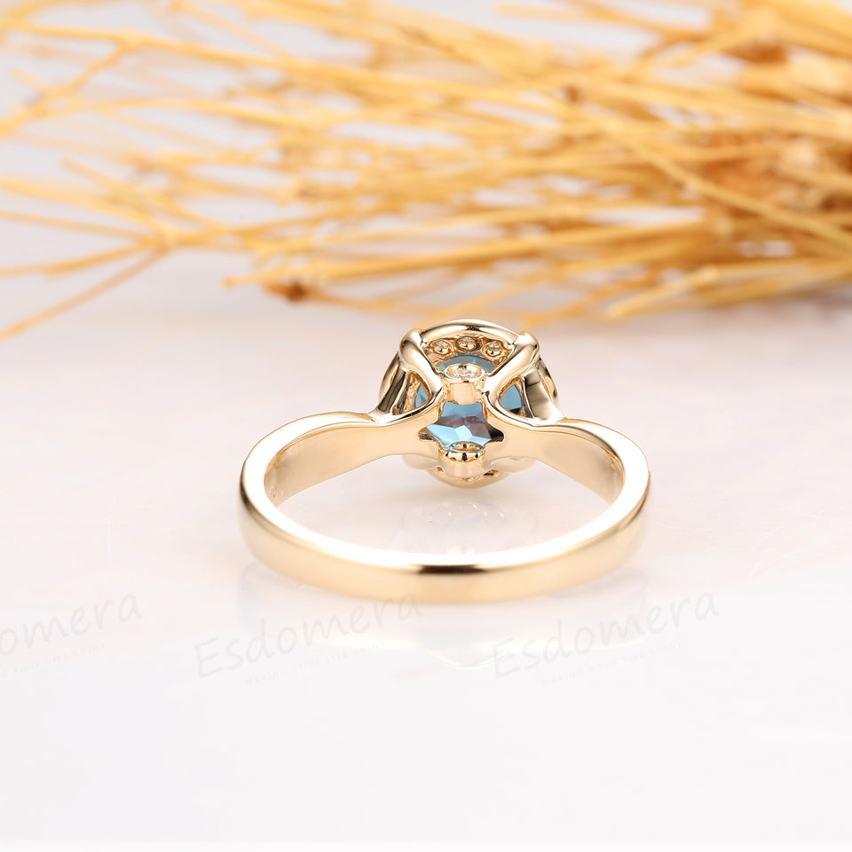 Round Cut 1ct Alexandrite Ring, Vintage Rose Style 14k Yellow Gold Engagement Ring