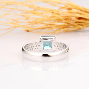 Princess Cut 7mm Alexandrite Wedding Ring, Wide Band 14k White Gold Ring