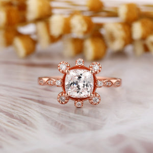 Unique Half Eternity Engagement Ring, 1.3CT Cushion Cut Moissanite Ring
