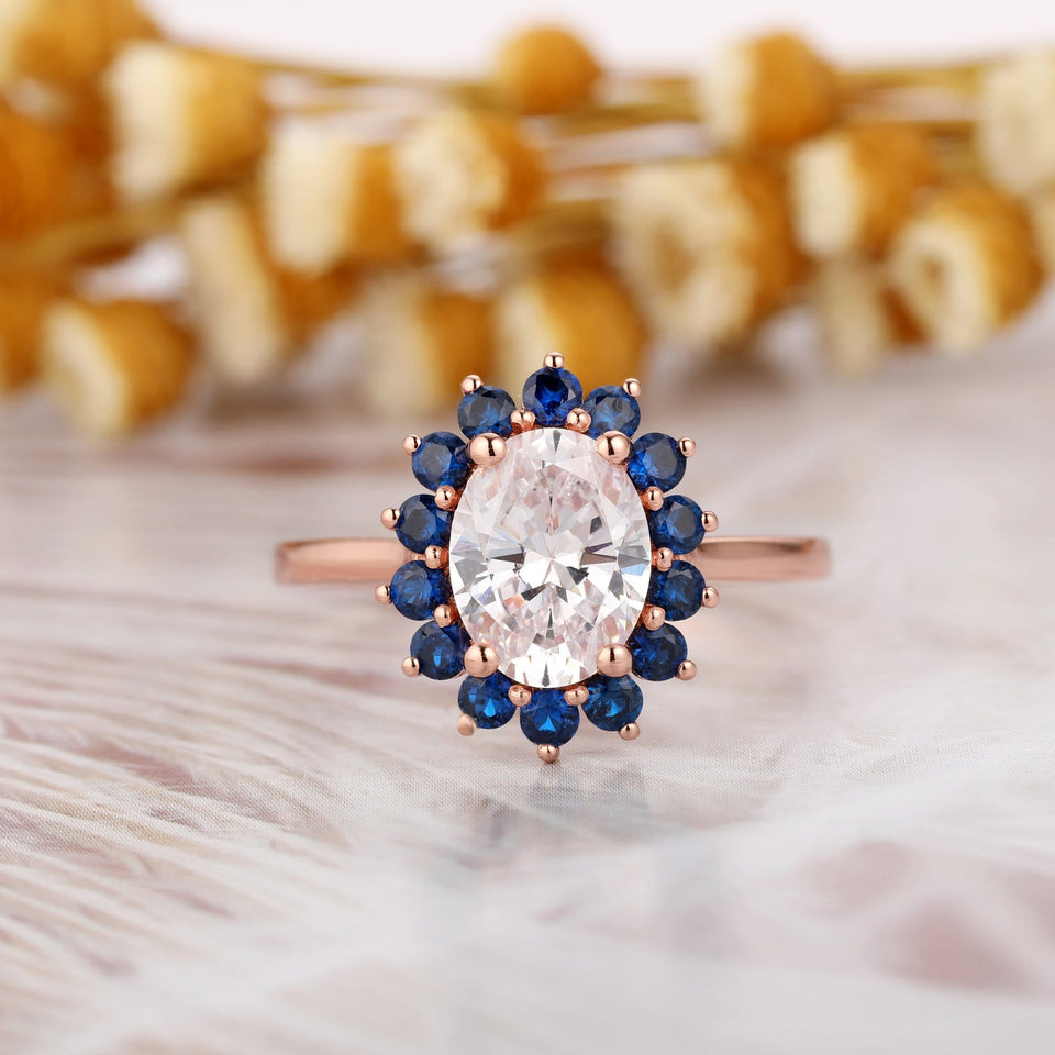 Lab Created Sapphire Wedding Ring, 2.1CT Oval Cut Moissanite Engagement Ring