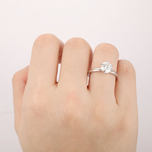 1.5CT Round Cut Moissanite Ring, Prong Set Ring, Solitaire Ring, 14k White Gold Ring