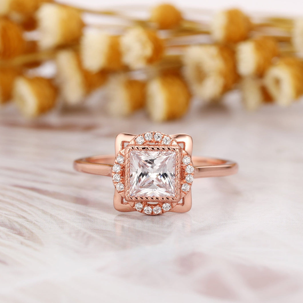 Antique Halo Wedding Ring, 1.0CT Princess Cut Moissanite Engagement Ring