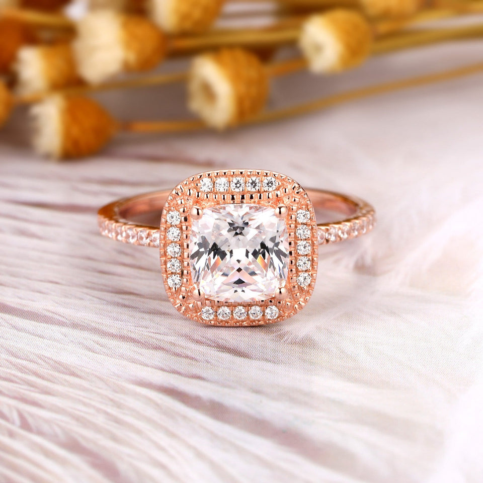 Cushion Cut 1.7CT Moissanite Wedding Ring, 14K Gold Pristine Custom Promise Ring