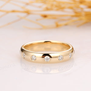 Solid 14K Yellow Gold Moissanite Wedding Band, Brilliant Moissanite Accents Ring