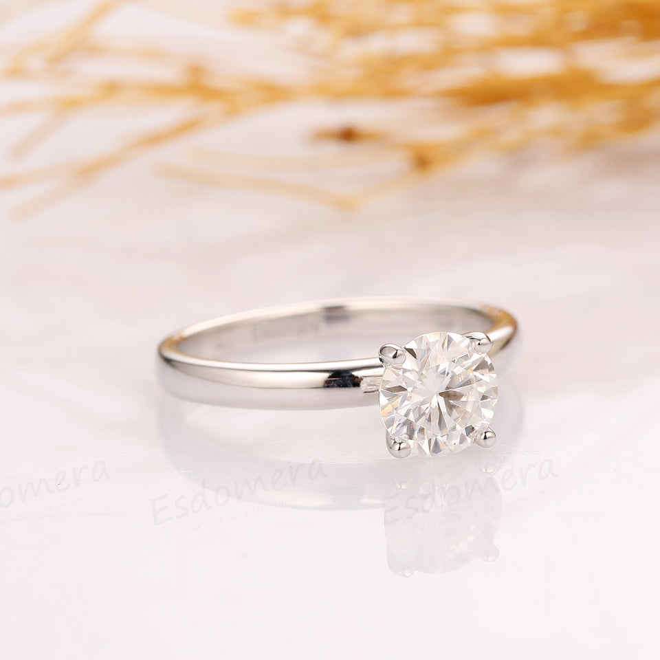 1.0CT Round Cut Moissanite Promise Ring, 14k White Gold Solitaire 4 Prongs Ring