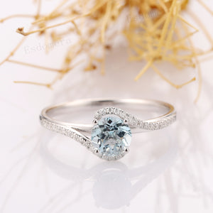 Aquamarine Ring, Round Cut 6.5mm Aquamarine Ring, Pave Set Accents Ring, 14k Rose Gold Engagement Ring