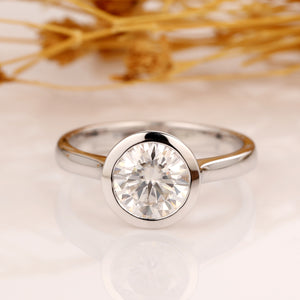 925 Sterling Silver - Bezel Solitaire 1.5CT Moissanite Engagement Ring