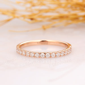 Half Eternity Wedding Band, 0.3ctw Pave Set Moissanite Wedding Ring