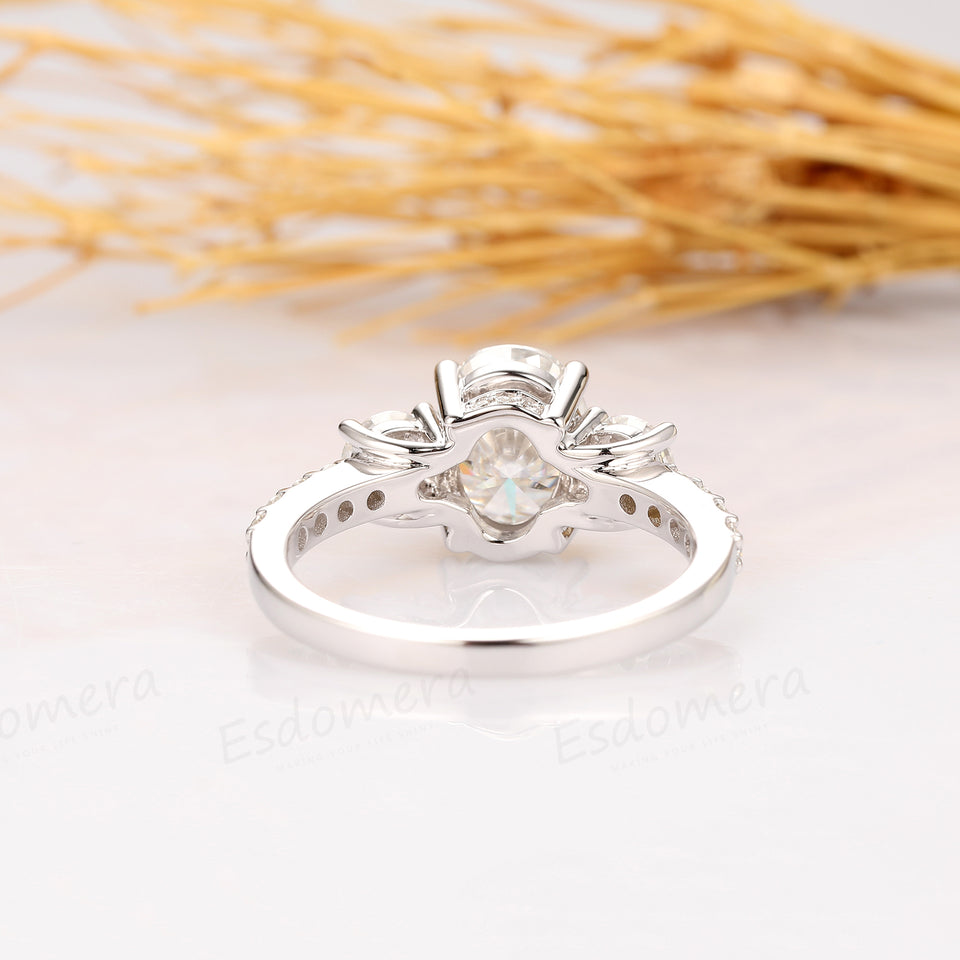 2.1CT Oval Cut Moissanite Engagement Ring, 3 Stones Wedding Ring