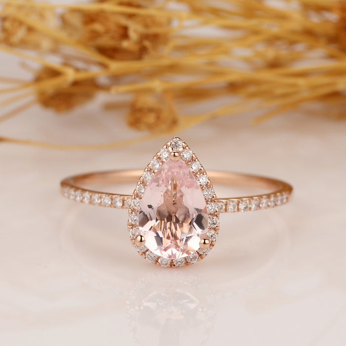 Morganite Engagement Ring 6x9mm Pear Shaped Halo Diamond Wedding Ring