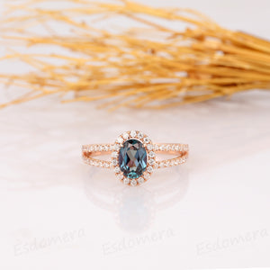 Oval Cut 5x7mm Alexandrite Ring, Halo Design Ring, 14k Rose Gold Ring
